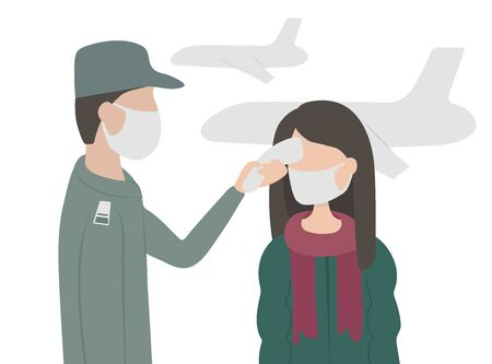 Virus. Flu.Remote measurement of the temperature of passengers at the airport Ilustración de vector