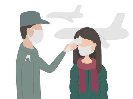 Virus. Flu.Remote measurement of the temperature of passengers at the airport Stock Illustratie