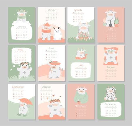 calendar or planner 2021 kawaii cartoon ox, bull or cow, symbol of new year, cute characters. Cover and 12 monthly pages. Week starts on Monday, vector