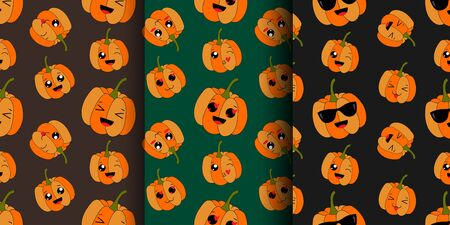 Pumpkins seamless patterns fanny emojis happy and love