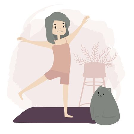 Girl doing morning yoga at home. Stretching. Fitness. Wellness, healthcare. Lifestyle. Daily Routine Activities. Life with cat. Vector flat Illustration