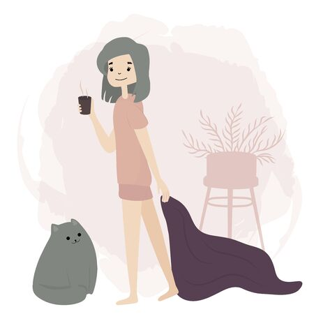 Girl slowly drink coffee. Morning mood. Daily Routine Activities. Life with cat. Vector flat