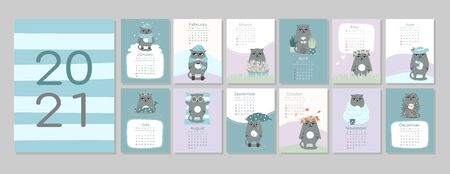 calendar or planner 2021 kawaii cartoon cat,cute characters. Cover and 12 monthly pages. Week starts on Monday, vector