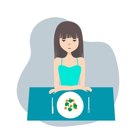 young woman looking at plate afraid to eat. Food addiction concept. Disosrder and depression. Anorexia, bulimia Illustration