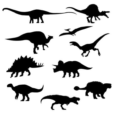 Set of Dinosaurs Silhouettes Isolated on White Background. Vector Illustration Vecteurs