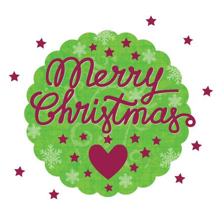 Merry christmas handgemaakte belettering, merry christmas vintage ansichtkaart met hart en sterren in het ronde groene frame