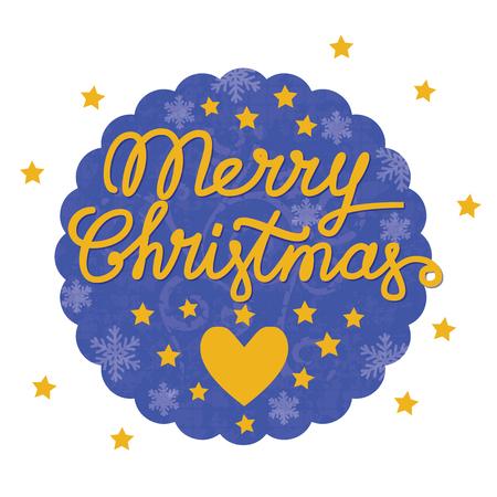 Merry christmas handgemaakte belettering, merry christmas vintage ansichtkaart met hart en sterren in het ronde blauwe frame