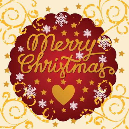 Merry christmas handgemaakte belettering, merry christmas vintage ansichtkaart met hart en sterren in het ronde rode frame