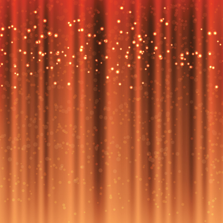 Сhocolate color curtains with magical tinsel sparks, festive background with sparkles, beautiful spectacular background with elements of magic Illustration