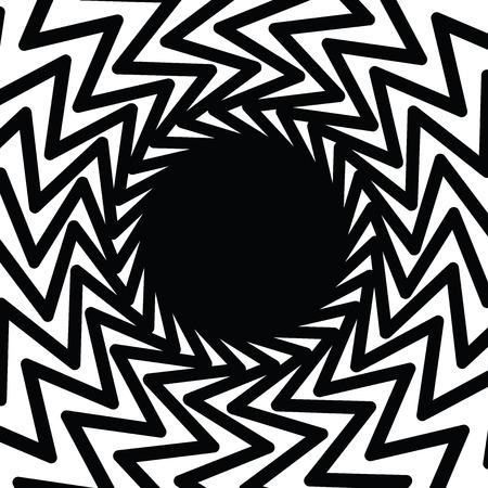 Circle geometric frame, vector ziz zag pattern, optical illusion background Illustration