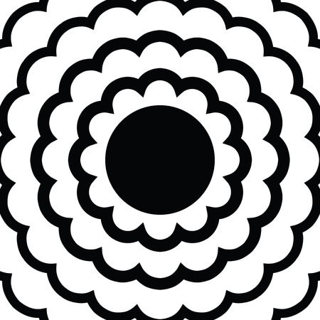 Round geometric frame template, abstract ornamental form isolated on white, circular decorative element, banner design, abstract flower of concentric lines Illustration