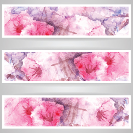 Set of vector banner, business card or flyer design, abstract watercolor background, flowers blossom, no mask