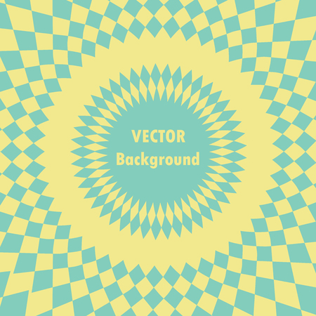 Banner with optical effect, geometric background with round frame for text in the center, pop art background