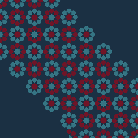 Dark blue background with diagonal band of flowers in the center, decorative geometric background Illustration