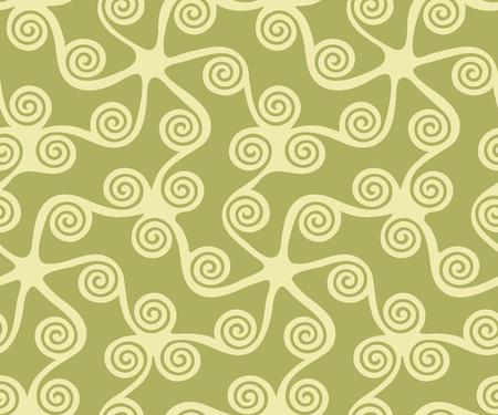 Seamless greek key pattern, seamless curl and swirl, seamless fabric print,  seamless green background