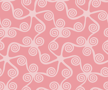 Seamless greek key pattern, seamless curl and swirl, seamless fabric print,  seamless background of color dusty rose