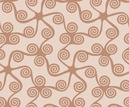 Seamless greek key pattern, seamless curl and swirl, seamless fabric print,  seamless beige background Illustration