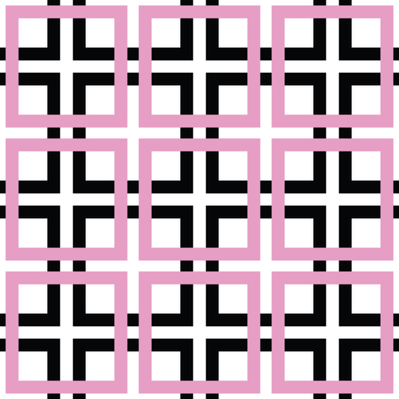 Seamless trellis pattern in black, white and pink with squares and crosses, minimalist background, seamless fabric print