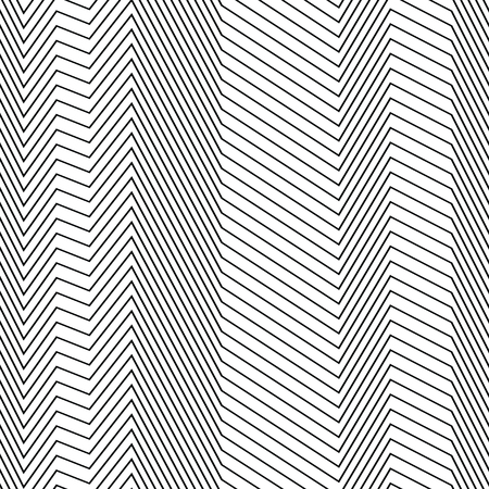 Seamless strips pattern of zig zag lines, abstract vector hatch texture, black and white background, halftone effect, op art pattern, seamless fabric print, textured monotone background Иллюстрация