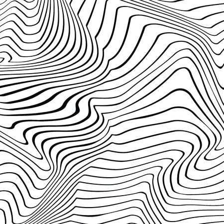 Pattern Abstract vector texture of curving lines, black and white narrow stripes, visual halftone effect, illusion of movement, op art pattern, dynamical ripple surface, artistic monochrome background Ilustração