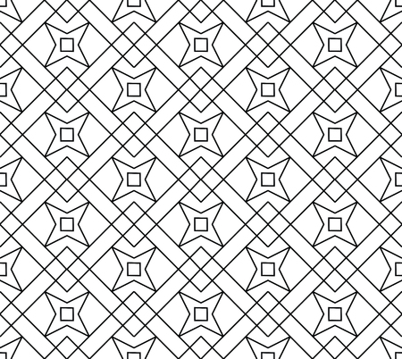 Seamless linear pattern, seamless geo, geometric pattern with star form, black and white seamless screen print texture Illustration