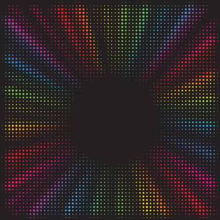 Priorità bassa di burst dell'arcobaleno. Effetto mezzitoni. Linee radiali e convergenti astratte. Esplosione, radiazione, zoom, effetto visivo. Raggi di sole o stelle in stile pop art. Design di banner in stile anni '80