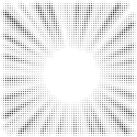 Fondo de ráfaga de ilusión óptica en blanco y negro. Efecto de semitono. Líneas radiales abstractas, convergentes. Explosión, radiación, zoom, efecto visual. Rayos de sol o estrellas para cómics en estilo pop art.
