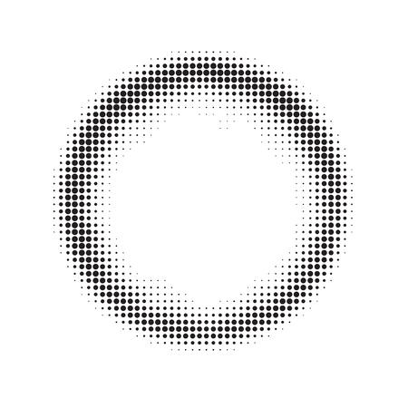 Vector grunge frame pattern, halftone, black and white graphics, circle of small black dots arranged randomly. Round banner, aureole, halation border Illustration