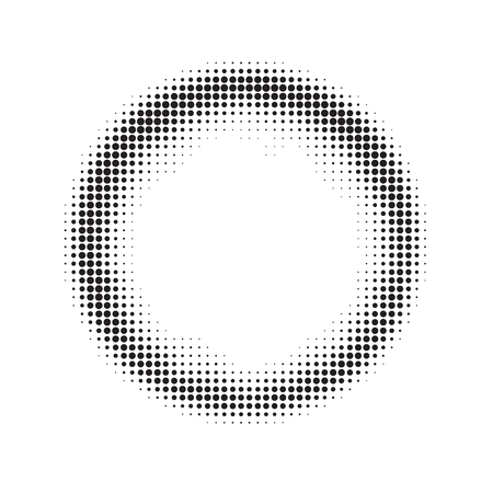Vector grunge frame pattern, halftone, black and white graphics, circle of small black dots arranged randomly. Round banner, aureole, halation border Stock Illustratie