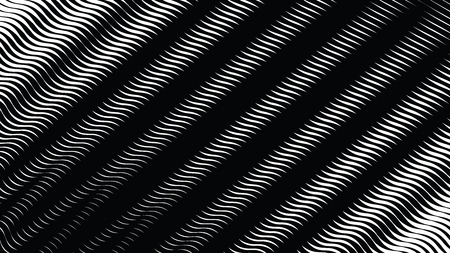 Halftone waves background, op art background, black and white overlay texture, distess screen print texture Illustration