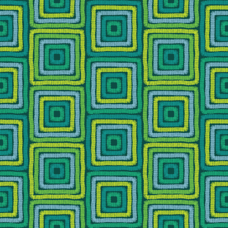 Geometric seamless background, tribal embroidery pattern, squares motif, screen print texture, colorful seamless embroidery pattern for fabric print, abstract multicolor fashion background Illustration