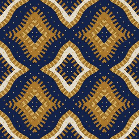 Seamless trellis pattern, asian vector pattern, seamless fabric print in blue, gold, ivon, seamless geometric pattern, abstract background Illustration