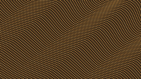 Ripple waves pattern, halftone dot background, texture, abstract light pattern, gold dots on black background, vector minimal techno background, screen print texture