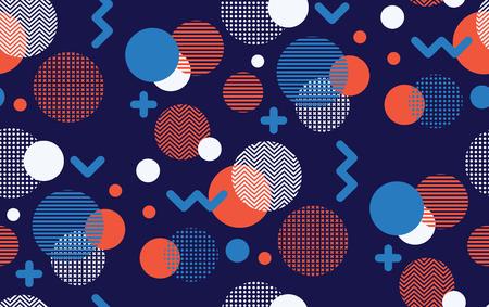 Seamless circles, geometric pattern, abstract geo texture, seamless fabric print, memphis style