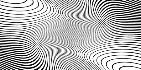 Wave monochrome background. Simple linear halftone  texture. Vector black & white background. Abstract dynamical rippled surface. Visual  3D effect. Illusion of movement. Foto de archivo - 122104091
