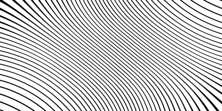 Wave monochrome background. Simple linear halftone texture. Vector black & white background. Abstract dynamical rippled surface. Visual 3D effect. Illusion of movement. Vector Illustration