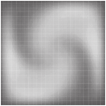Halftone dotted pattern with the effect of rotation, twisting or mixing, black and white vector illustration