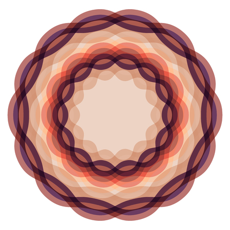 Screen printing pattern. Radiant frame. Abstract vortex. Circular pattern. Wave Pattern.Round colorful frame isolated on white.Abstract whirligig.Circle pattern.