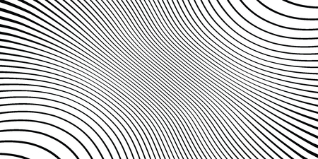 Wave monochrome background. Simple linear halftone  texture. Vector black & white background. Abstract dynamical rippled surface. Visual  3D effect. Illusion of movement. Illustration