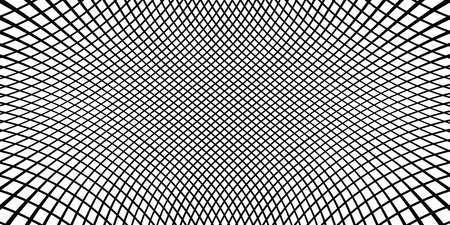 Checkered monochrome background. Simple linear halftone texture. Vector black & white background. Abstract dynamical rippled surface. Visual 3D effect. Illusion of movement.
