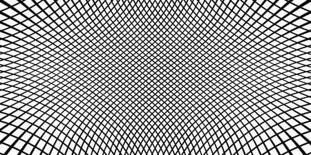Fondo monocromático a cuadros. Textura de semitono lineal simple. Vector de fondo blanco y negro. Superficie ondulada dinámica abstracta. Efecto visual 3D. Ilusión de movimiento.
