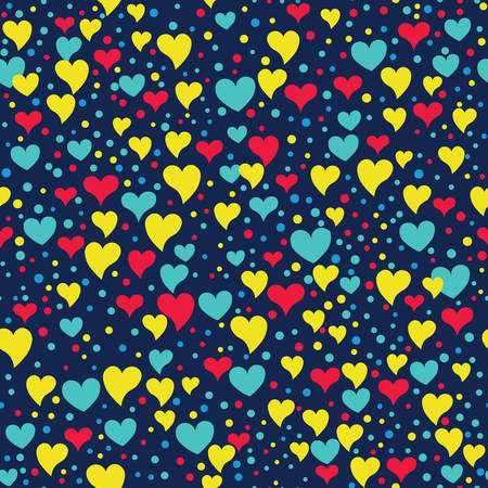 Seamless hearts and polka dots. Points and different sized hearts arranged randomly. Seamless fabric print. Modern cute background in vector. Romatic  background in dark blue, yellow, purple. Ilustração