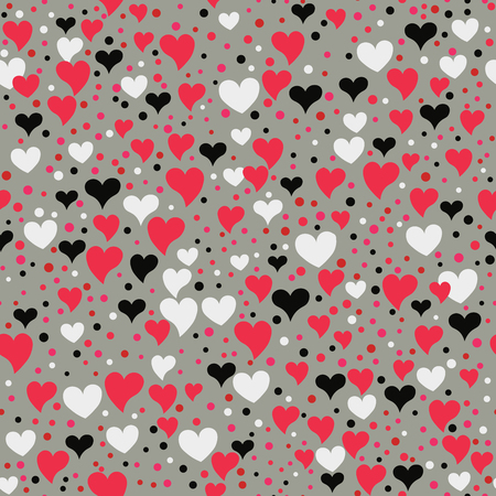 Seamless hearts and polka dots. Points and different sized hearts arranged randomly. Seamless fabric print. Modern cute background in vector. Romatic  background in pink, black, grey.
