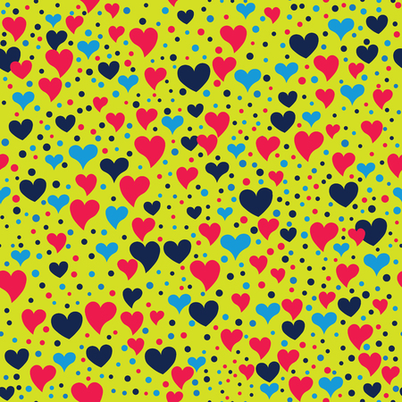Seamless hearts and polka dots. Points and different sized hearts arranged randomly. Seamless fabric print. Modern cute background in vector. Romatic  background in green, red, black, blue. Ilustração