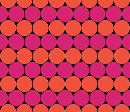 Seamless strips of circles. Rows of balls.  Colorful seamless background with beige and orange. Geometric vector background. Vivid color background.