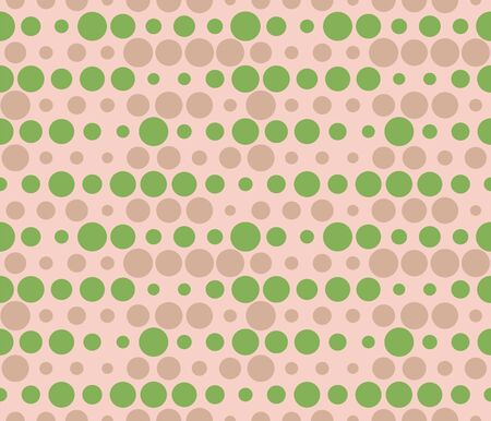 Seamless rows of dots with halftone effect. Bubbles pattern.  Abstract dotted background in green and beige. Seamless dotted texture in vector Ilustração