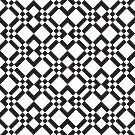 Seamless squares pattern, checkered fabric print, geometric, geo pattern, vector illustration in black and white