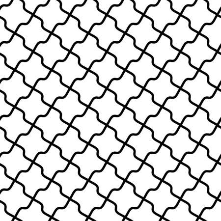 Vintage trellis pattern, seamless fabric print, linear seamless print, black and white vector illustration.