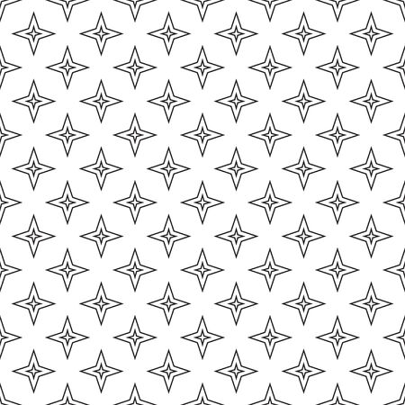 Linear seamless pattern with stars, black and white vector illustration