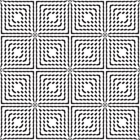 Seamless geometric pattern of stripes and squares, trendy color texture background, optical illusion Illustration